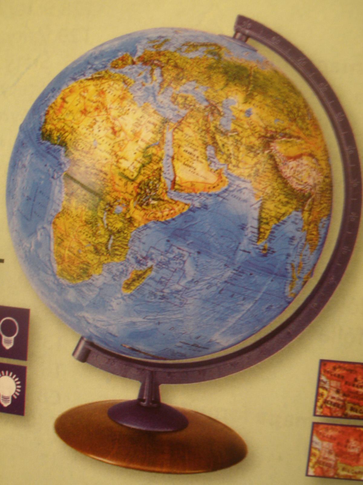 Glóbus reliéfny priemer 30 cm v anglickom jazyku