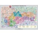 Mapa Slovenskej republiky, obojstranná - DUO, predná strana politická mapa a zadná strana slepá mapa