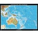 Austrália a Nový Zéland - všeobecnogeografická mapa, zadná strana politická mapa Austrálie a Nového Zélandu