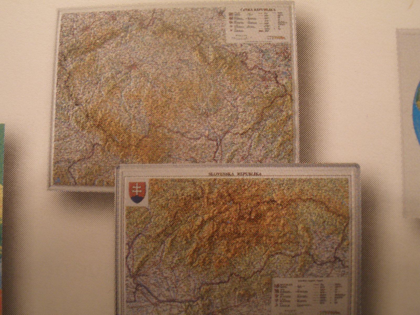 ČR = reliéfna mapa, mierka 1:500.000, 92 x 63 cm