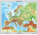 Mapa Európy, obojstranná - DUO, predná strana všeobecno-geografická mapa a zadná strana politická mapa
