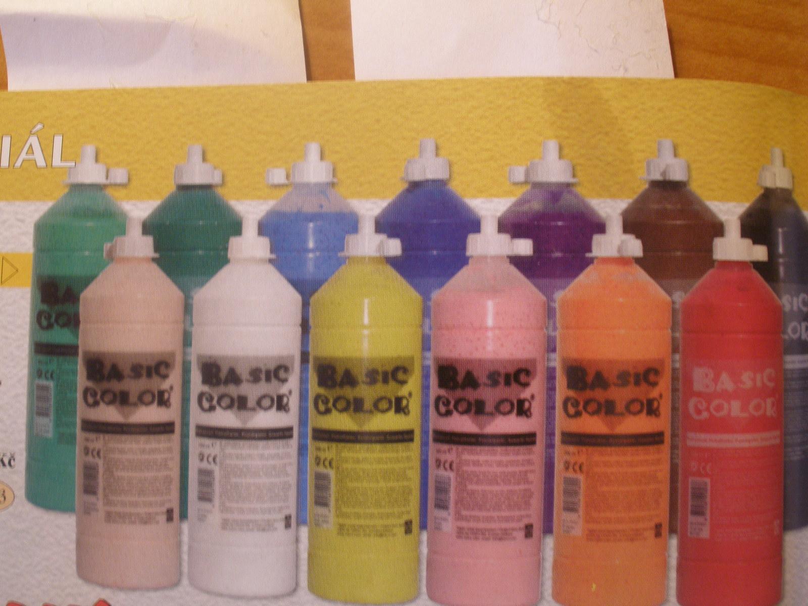 Temperové farby v0,5 l fľašiach zUH = 12 farieb