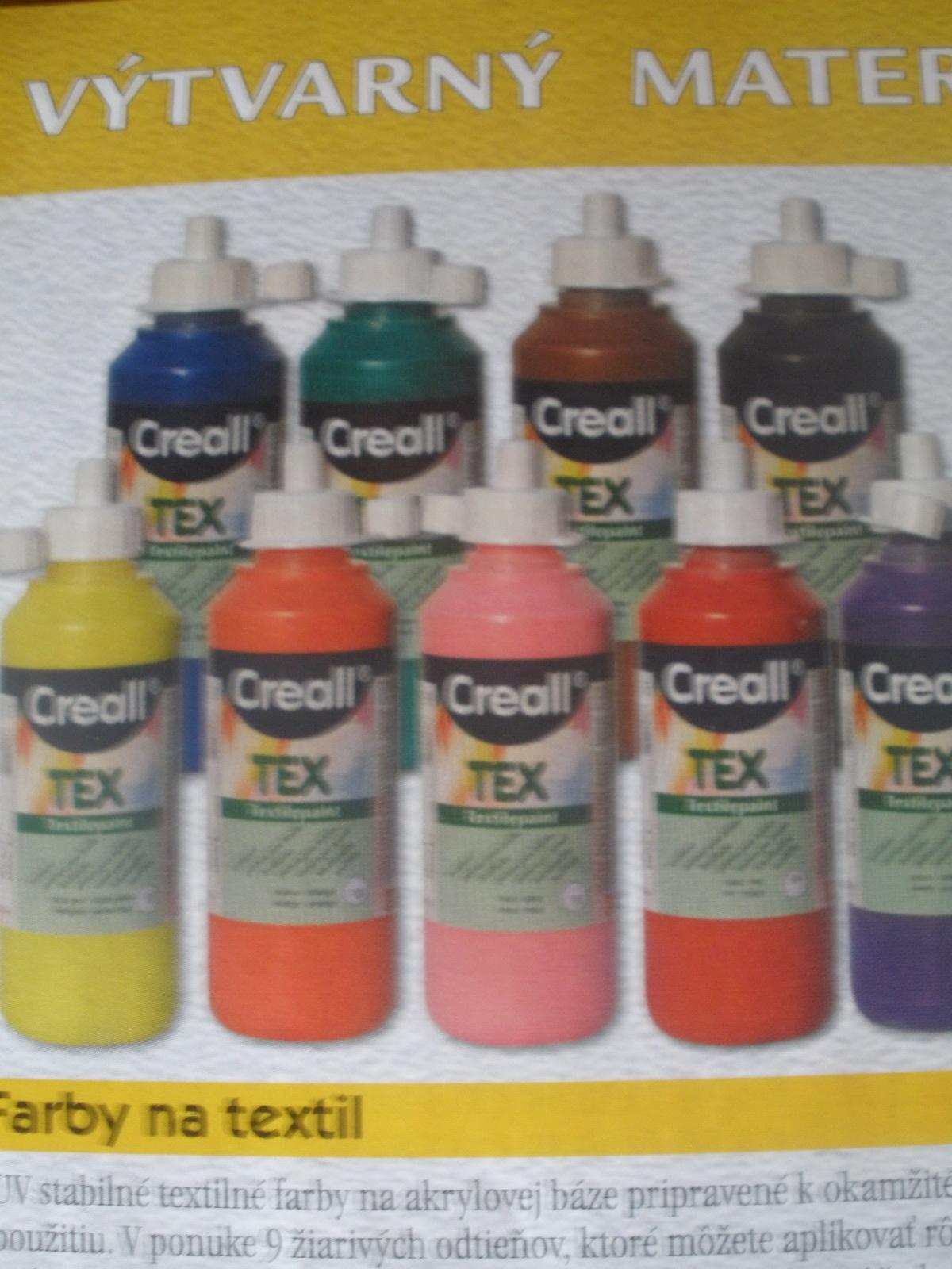 Farba na textil = 250 ml, rozne odtiene, cena za kus