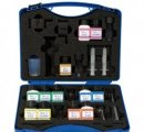 VISICOLOR školská činidlová sada. Amoniak, dusičnan, dusitan, fosforečnan, pH a celkové stanovenie tvrdosti.