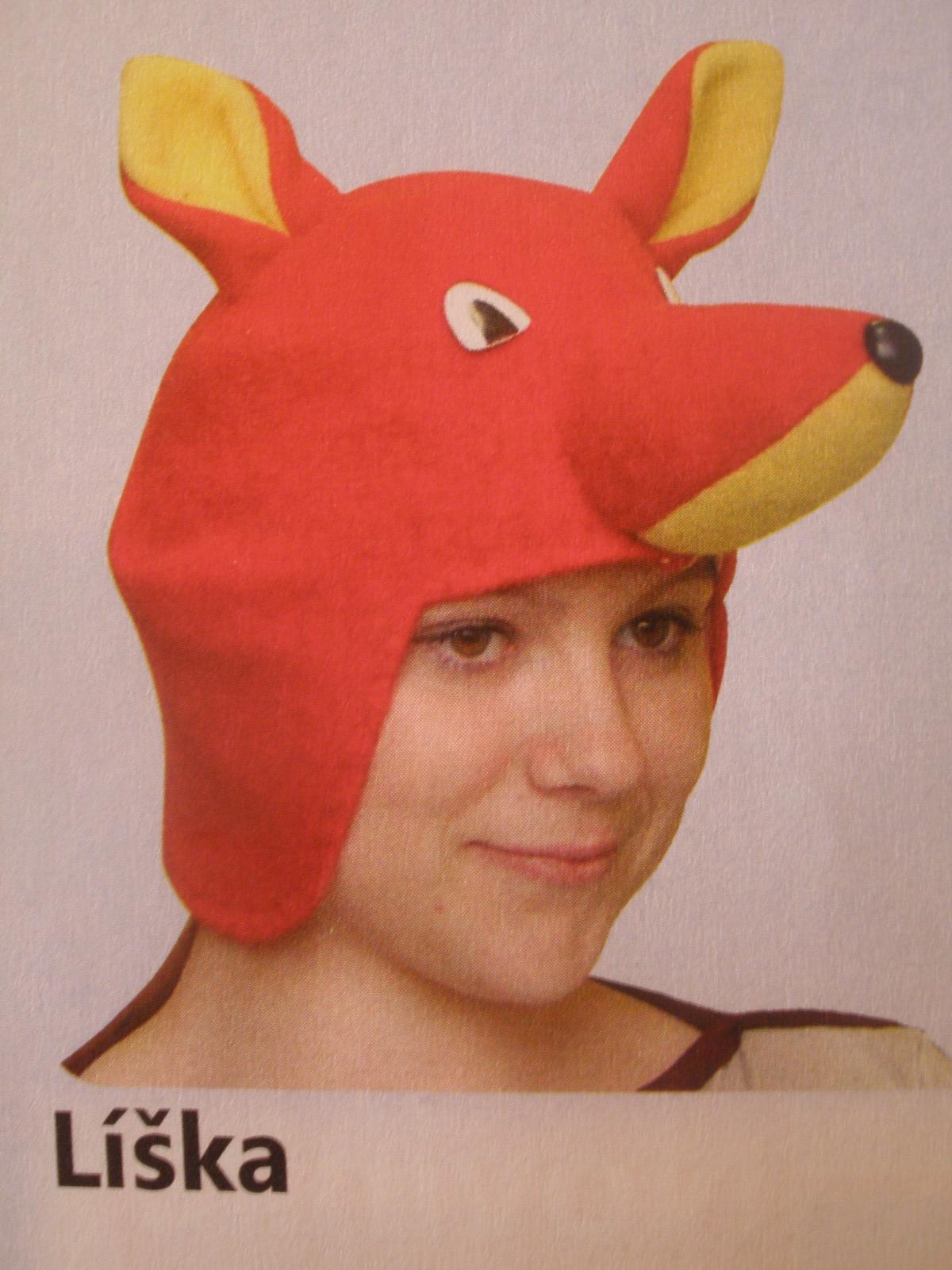 Rozprávkové karnevalové čiapky = pre 5-6 ročné deti, 10 ks, lienka,Mravec, čert,  vrana, líška, červená čiapočka, vlk, zajac,gašparko