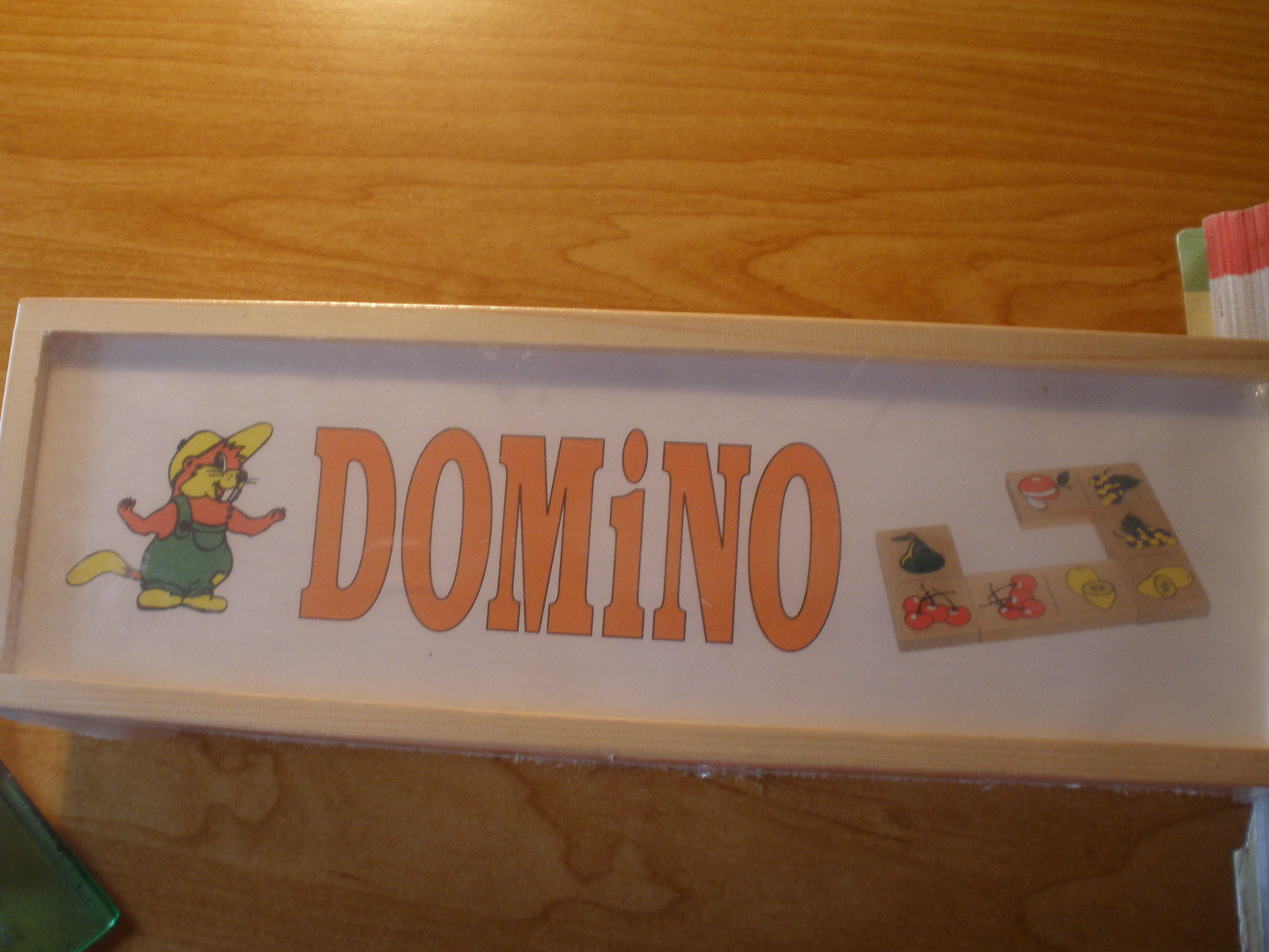Drevené domino Ovocie – obrázkové domino, zasúvacie kazety