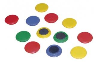 Magnetky farebné = 12 ks, priemer 28 mm
