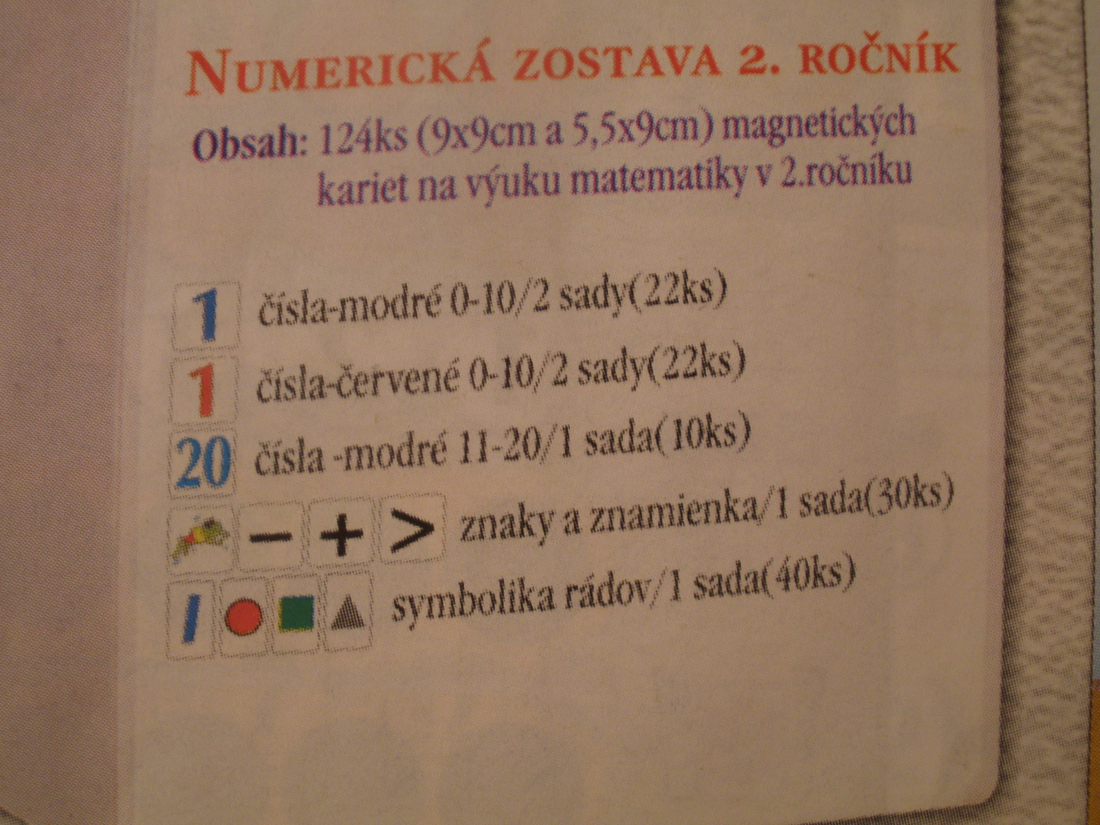Numerická zostava pre 2. roč./komplet