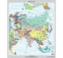Mapa Ázie, obojstranná - DUO, predná strana všeobecno-geografická mapa a zadná strana politická mapa