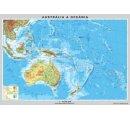 Mapa Austrálie a Nového Zélandu, obojstranná - DUO, predná strana všeobecno-geografická mapa a zadná strana politická mapa