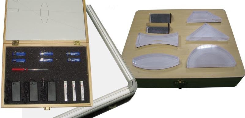 Laserová optika so zdrojom svetla a so sústavou optických telies,komplet
